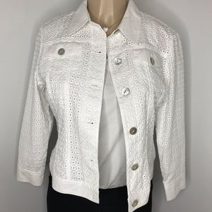 RUBY RD. White Cotton Eyelet Lightweight Jacket 8P